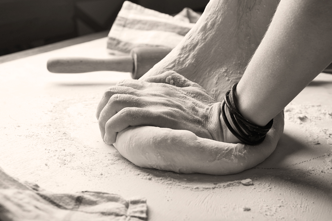 kneading dough photo
